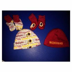 NWOT NFL Redskins infant hat sets